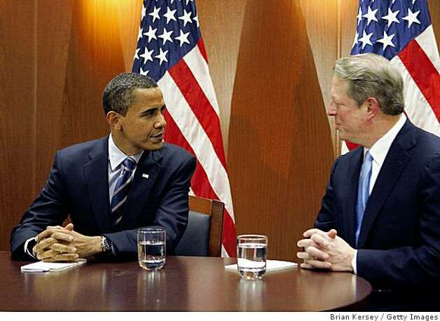 CHICAGO - DECEMBER 09:  (AFP OUT) President-elect Barack Obama (L) sits with former Vice President Al Gore after a private meeting at Obama's transition office on December 9, 2008 in Chicago, Illinois. Vice President-elect Joe Biden also attended the meeting where an Obama spokesman said the three men discussed energy and climate change and how policies in those areas could help the economy.  (Photo by Brian Kersey/Getty Images) Photo: Brian Kersey, Getty Images