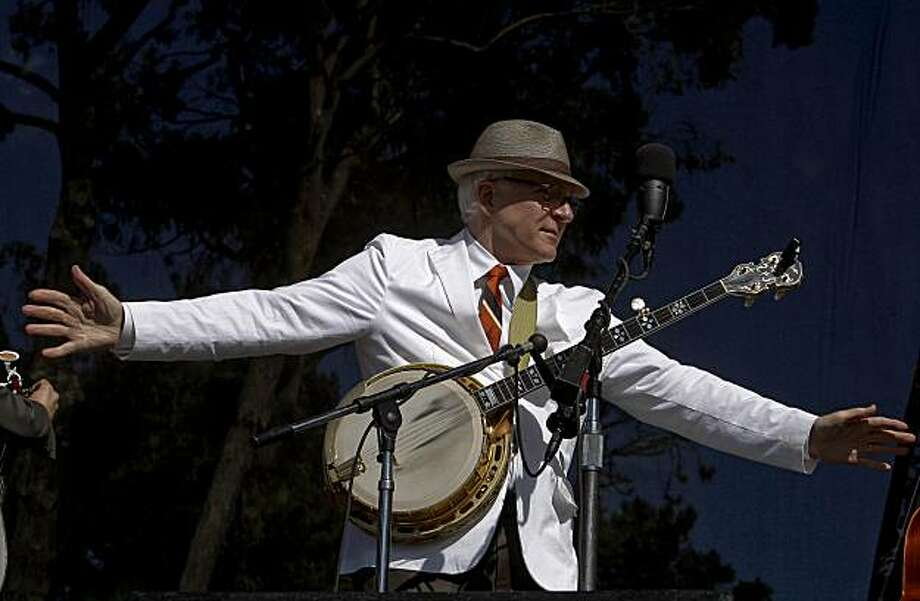 Steve Martin hams it up as he plays with the Steep Canyon Rangers during the Hardly Strictly Bluegrass Festival,  Golden Gate Park on Saturday October 3, 2009 in San Francisco, Calif. Photo: Michael Macor, The Chronicle