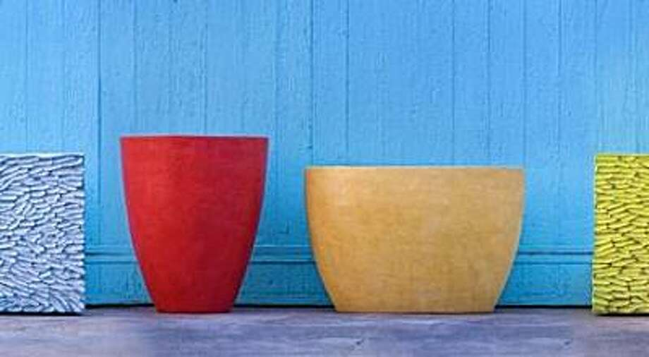 Light-weight concrete planters by sculptor Mary Oros Photo: Mary Oros