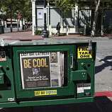 "A message to Oakland to ""Be Cool"" sits in a newspaper box moments before jurors convicted Johannes Mehserle on involuntary manslaughter on Thursday July, 8, 2010 in Oakland, Calif."