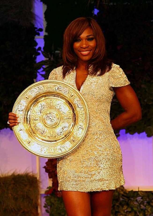 LONDON, ENGLAND - JULY 04:  Serena Williams of USA with the winners trophy at the Wimbledon Championships 2010 Winners Ball at the InterContinental Park Lane Hotel on July 4, 2010 in London, England. Photo: Julian Finney, Getty Images
