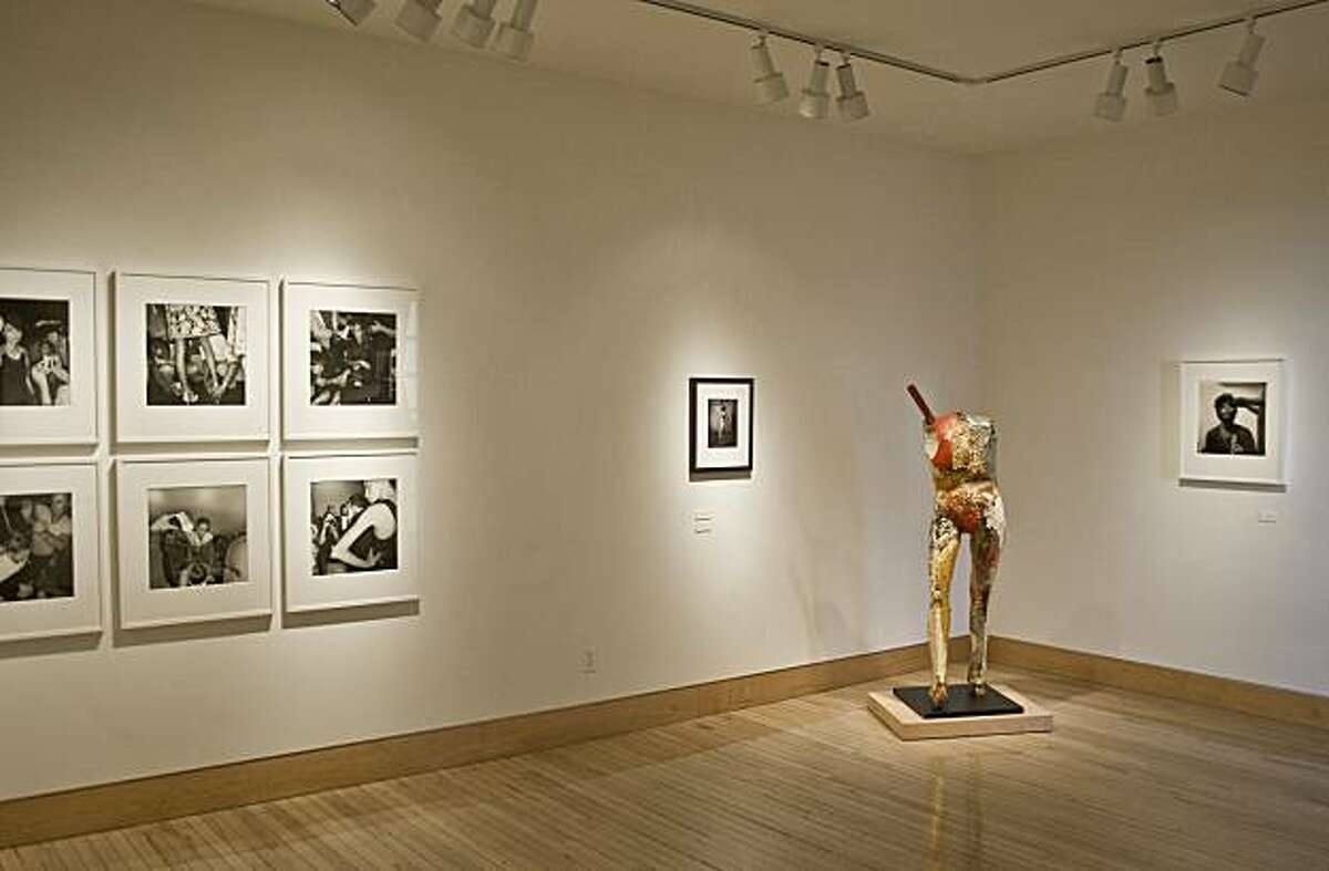 """Installation view of """"They Knew What They Wanted"""" at Fraenkel showing works by (l. to r.) Lee Friedlander, E. J. Bellocq, Manuel Neri and Diane Arbus works chosen by Katy Grannan"""