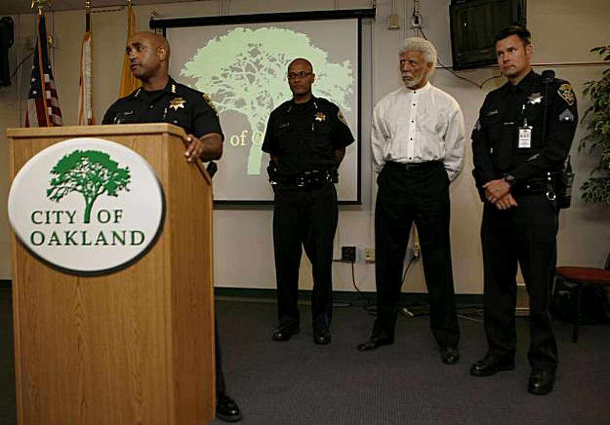 Oakland Police Chief Anthony Batts holds a press conference, flanked by Assistant Chief Howard Jordan (left) Mayor Dellums and Public Information Officer Jeff Thomason, at the Emergency Operations Center to state that the majority of the demonstrations in Oakland have been peaceful following the Johannes Mehserle verdict on Thursday, July 8, 2010 in Oakland, Calif.