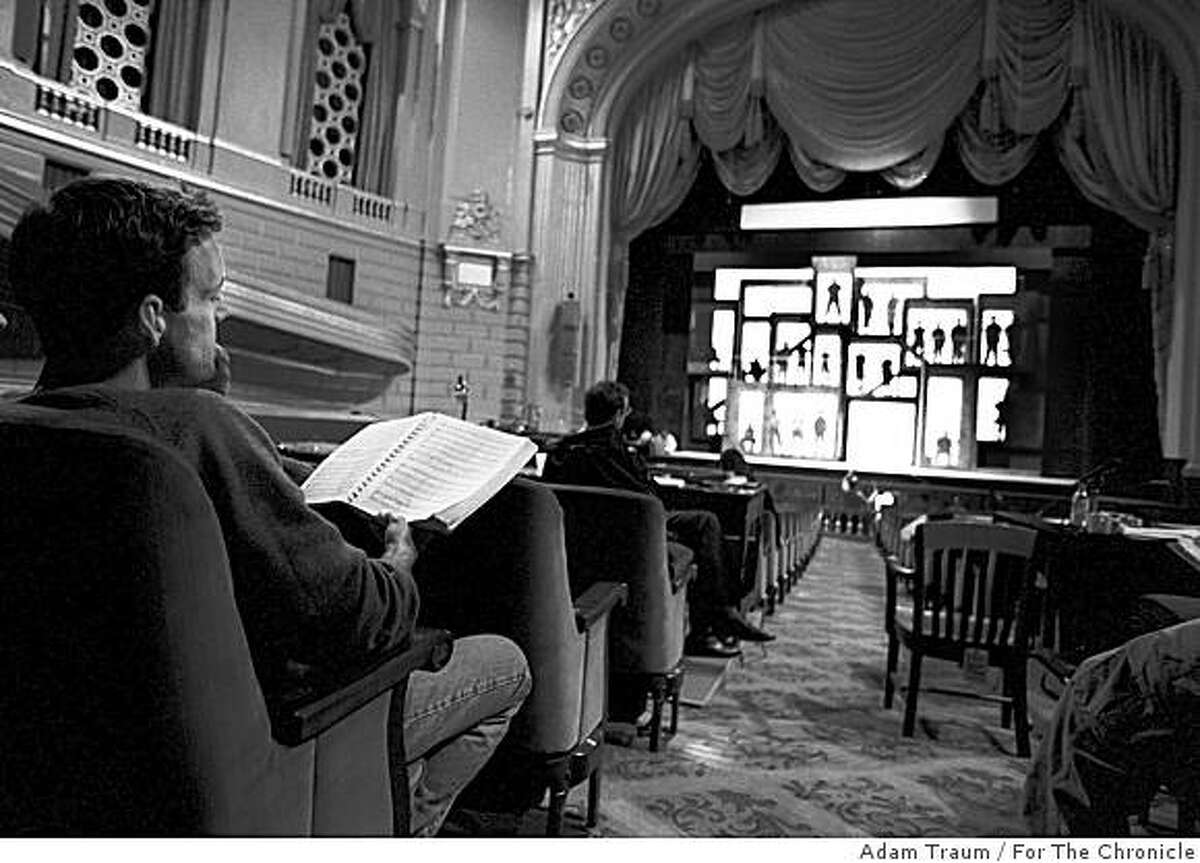 """DEADMANl-B-20SEPT00-PK-AT--""""Deadman Walking"""" composer Jake Heggie listens during a chorus rehearsal at the War Memorial Opera House. PHOTO BY/ADAM TRAUM/FOR THE CHRONICLE"""