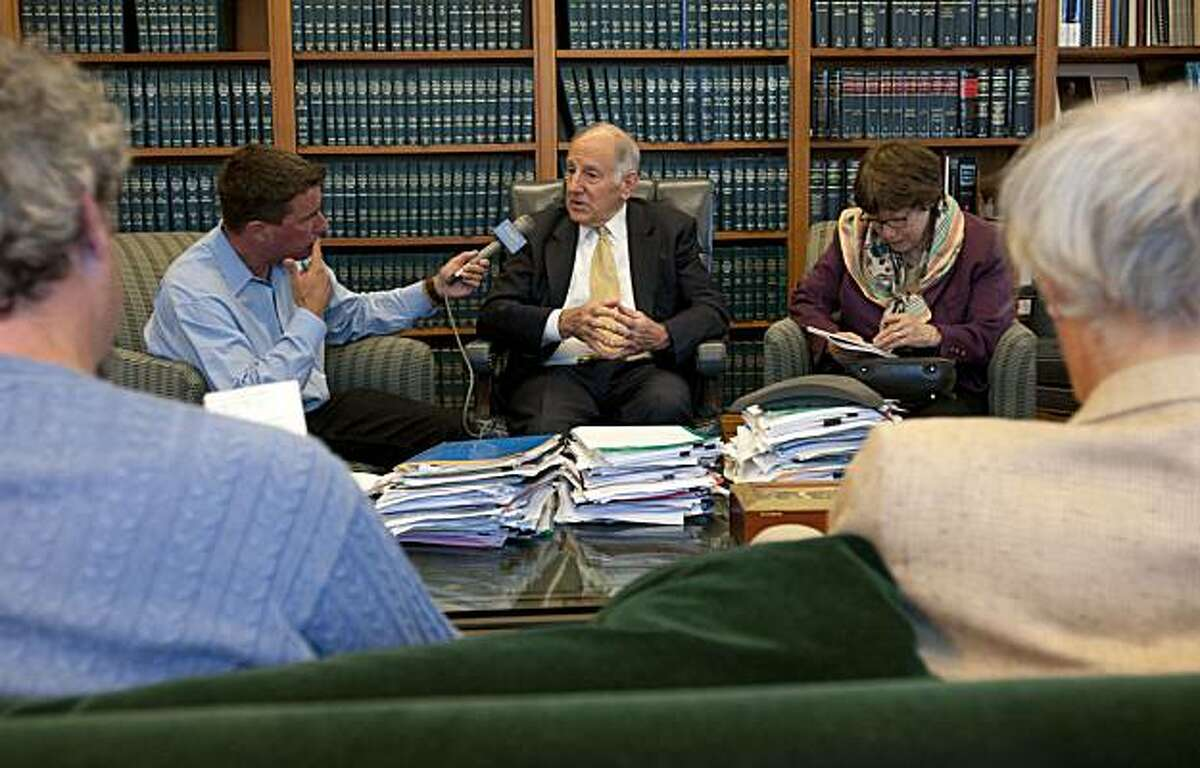State Chief Justice Ron George announces his retirement and speaks to members of the media on Wednesday, July 14, 2010 in his office in San Francisco, Calif.