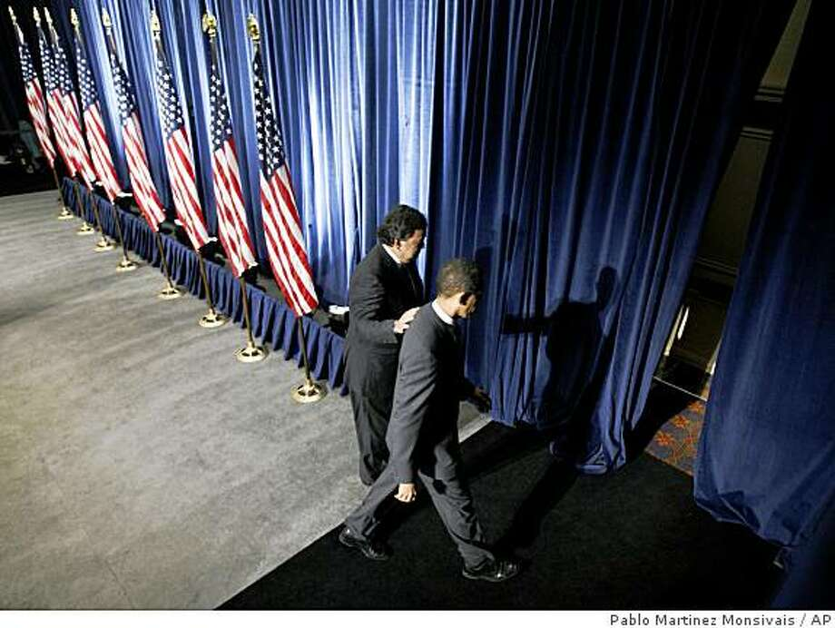 President-elect Barack Obama and Commerce Secretary-designate New Mexico Gov. Bill Richardson walk offstage following a news conference in Chicago, Wednesday, Dec. 3, 2008. (AP Photo/Pablo Martinez Monsivais) Photo: Pablo Martinez Monsivais, AP