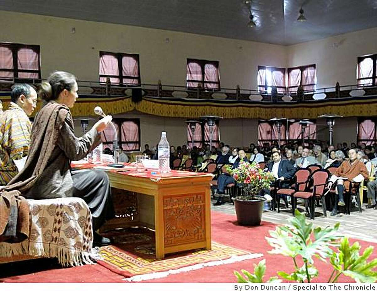Sabina Alkire, professor of economicsat Oxford University, explains the new Gross National Happiness Index to delegates of the 4th annual GNH conference in Thimphu, Bhutan in late November. Prof. Alkire has been instrumental in devising the index based on 72 standards. It should be ready as early as the end of this year.
