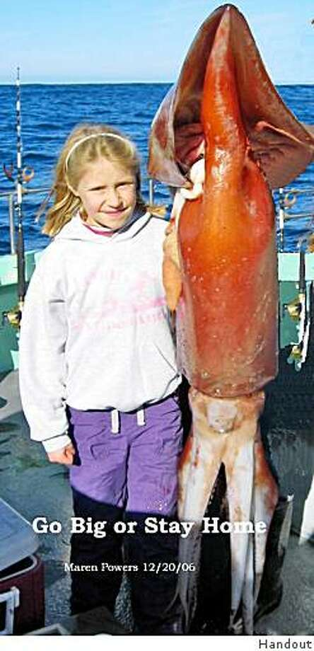 Maren stands with a squid in 2006. More caption info tk.Maren Powers, 11, at the time. The squid was caught on a trip on the New Sea Angler out of Bodega Bay. Maren is the daughter of captain Rick Powers. (707) 875-3344 for more info. Squid is the same as those being caught right now. Photo: Handout