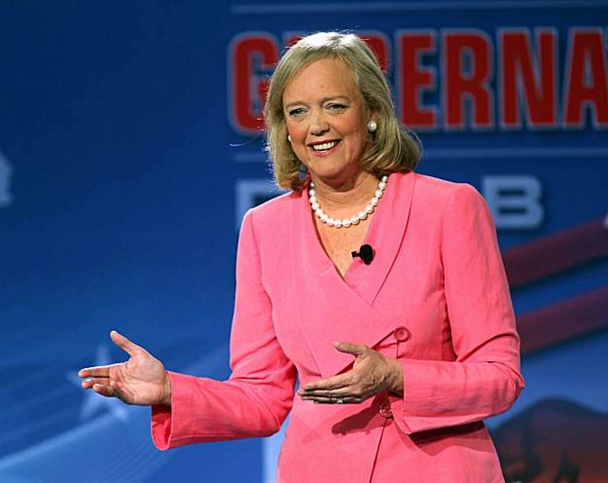 GOP gubernatorial candidate Meg Whitman speaks during a televised debate at the Tech Museum in San Jose, Calif. on Sunday, May 2, 2010. Steve Poizner and Meg Whitman squared off in their second debate as each vies to become the GOP nominee for California's governor.