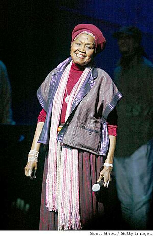 NEW YORK - MAY 11: Odetta performs during a fundraiser to increase minority voter registration and voter mobilization hosted by Voices for Working Families and the MoveOn.org Voter Fund at the Apollo Theater May 11, 2004 in New York City. (Photo by Scott Gries/Getty Images) Photo: Scott Gries, Getty Images