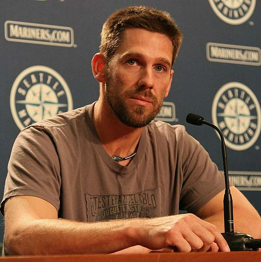 SEATTLE - JULY 09:  Cliff Lee of the Seattle Mariners speaks at a press conference announcing his trade to the Texas Rangers for first baseman Justin Smoak, pitcher Blake Beavan, Double-A Frisco reliever Josh Lueke and second baseman Matt Lawson at SafecoField on July 9, 2010 in Seattle, Washington. Photo: Otto Greule Jr, Getty Images