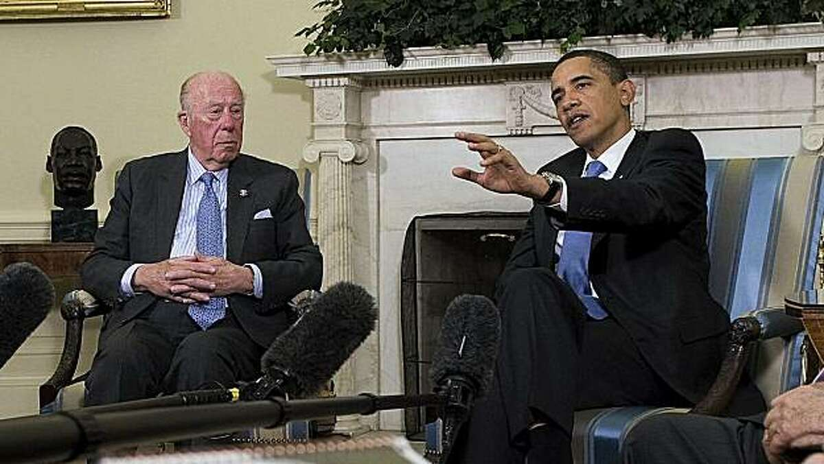 TURMOIL & TRIUMPH: THE GEORGE SHULTZ YEARS A passionate advocate for nuclear disarmament, George Shultz meets with President Obama.