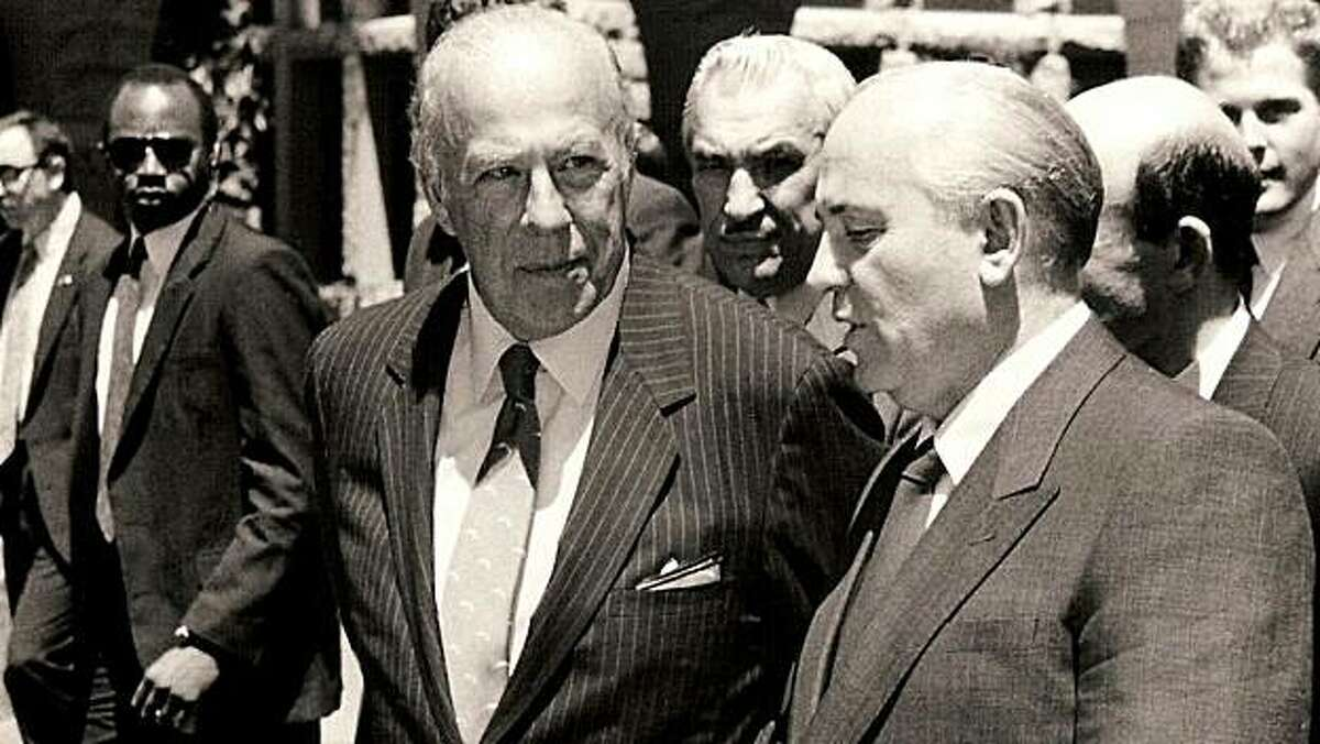 TURMOIL & TRIUMPH: THE GEORGE SHULTZ YEARS Secretary of State George Shultz (left) meets with the new leader of the Soviet Union, Mikhail Gorbachev, in 1985.