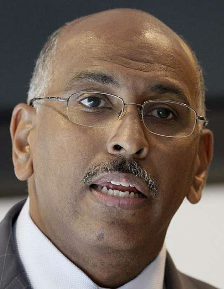 """FILE - In this June 24, 2010, file photo Republican National Committee Chairman Michael Steele speaks in San Francisco. On a morning talk show Sunday July 4, 2010, Senate Armed Services Committee's ranking Republican Sen. John McCain, R-Ariz. strongly criticized recent comments Steele made about the war in Afghanistan at a GOP fundraiser, calling them """"wildly inaccurate"""" and inexcusable. Steele called the U.S. commitment of troops in Afghanistan a mistaken """"war of Obama's choosing."""" Photo: Jeff Chiu, AP"""