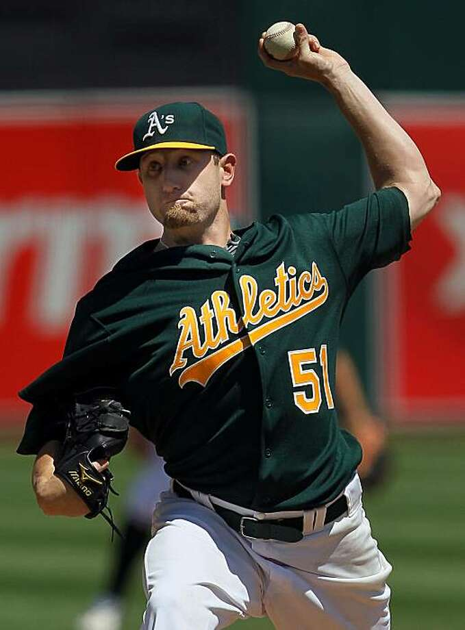 OAKLAND, CA - APRIL 22:  Dallas Braden #51 of the Oakland Athletics pitches in the first inning against the New York Yankees at the Oakland-Alameda County Coliseumon April 22, 2010 in Oakland, California. The Athletics defeated the Yankees 4-2. Photo: Justin Sullivan, Getty Images