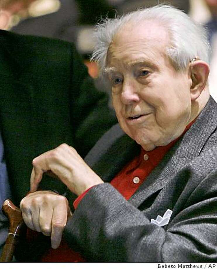 Composer Elliott Carter listens to a news conference at Carnegie Hall in New York, on Tuesday, Jan. 29, 2008. Carter was appointed to Carnegie Hall's composer's chair for next season. The native New Yorker is a two-time Pulitzer Prize winner. Photo: Bebeto Matthews, AP