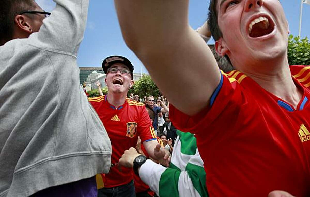 Fans rooting for Spain erupt as the winning goal is scored late in extra time. Thousands of soccer fans gathered in City Hall Plaza in San Francisco to watch the World Cup final Sunday.