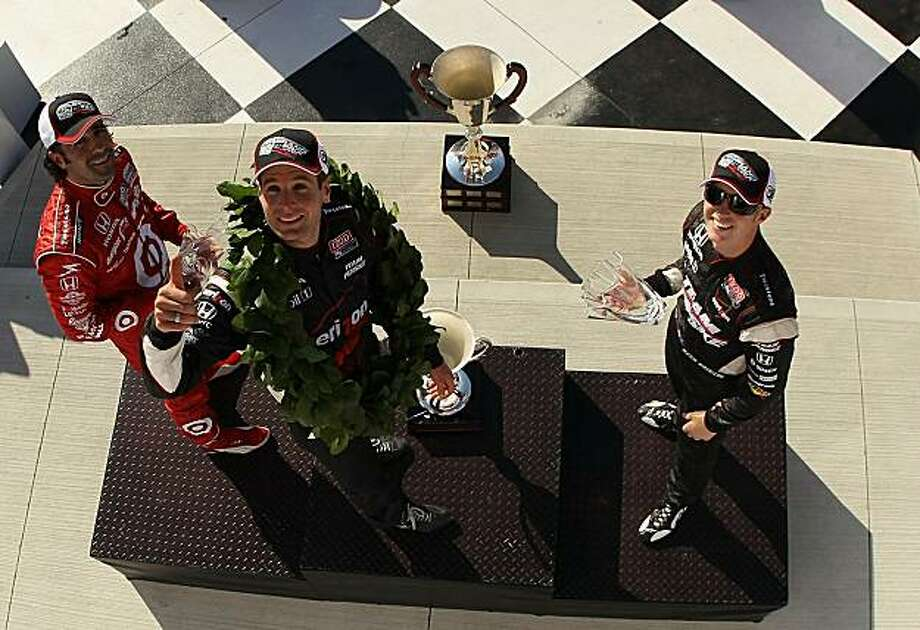 WATKINS GLEN, NY - JULY 04:  (L-R) Dario Franchitti, Will Power and Ryan Briscoe celebrate on the podium after the the IZOD IndyCar Series Camping World Grand Prix at the Glen at Watkins Glen International on July 4, 2010 in Watkins Glen, New York. Photo: Streeter Lecka, Getty Images