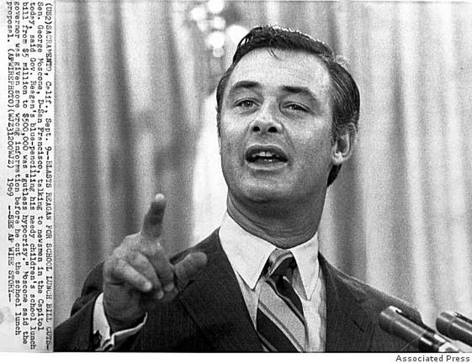 Mayor George Moscone was assasinated in 1978 on the day he was to mediate a settlement to integrate San Francisco's police department. Photo: AP, Associated Press
