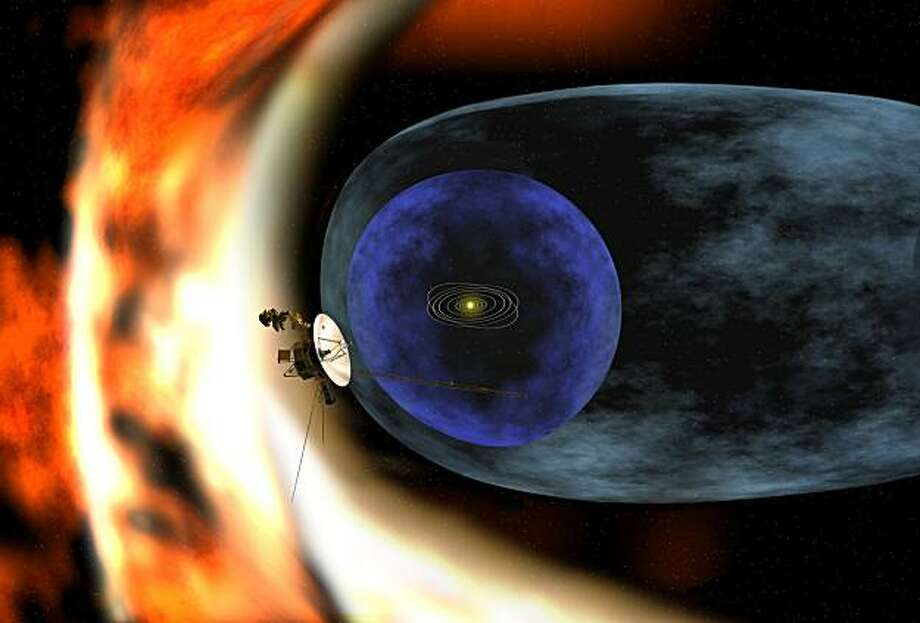 This artist?s rendering depicts NASAs Voyager 2 spacecraft as it studies the outer limits of the heliosphere - a magnetic ?bubble? around the solar system that is created by the solar wind. Photo: NASA/JPL-Caltech/