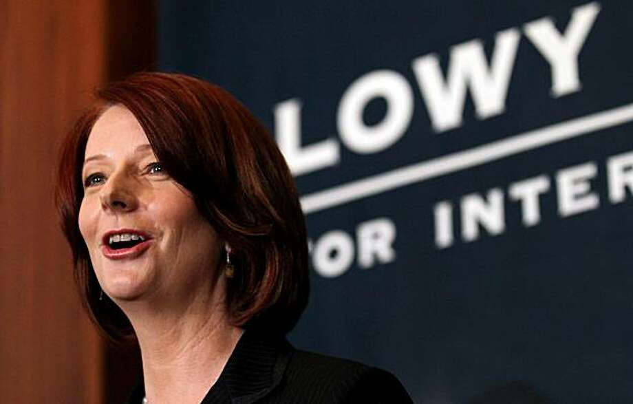 "Julia Gillard, Australia's prime minister, speaks at the Lowy Institute for International Policy, in Sydney, Australia, on Tuesday, July 6, 2010. Gillard said her government would introduce policies to strengthen border protection and ""wreck"" the people smuggling trade, key issues in this year's election. Photographer: Ian Waldie/Bloomberg *** Local Caption *** Julia Gillard Photo: Ian Waldie, Bloomberg"