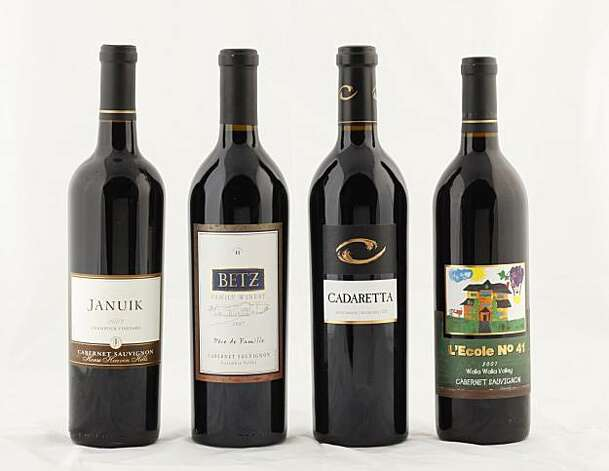 Left-right: 2007 Januik Champoux Vineyard Horse Heaven Hills Cabernet Sauvignon, 2007 Betz Pere de Famille Columbia Valley Cabernet Sauvignon, 2007 Cadaretta Columbia Valley Cabernet Sauvignon, 2007 L'Ecole No. 41 Walla Walla Cabernet Sauvignon in San Francisco, Calif., on July 7, 2010. Photo: Craig Lee, Special To The Chronicle