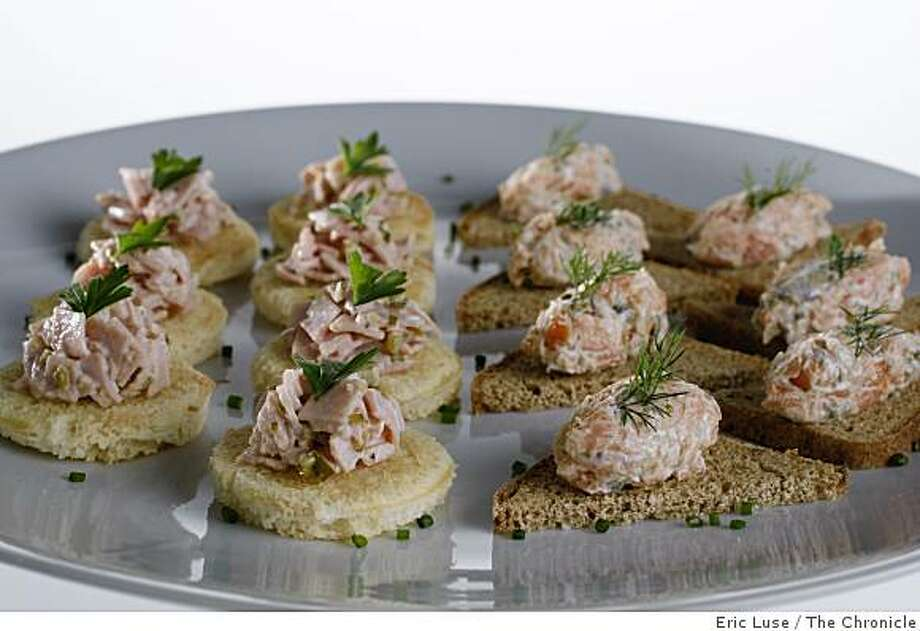 Ham canape and salmon canape dish on Wednesday, November 26, 2008 in San Francisco. Photo: Eric Luse, The Chronicle