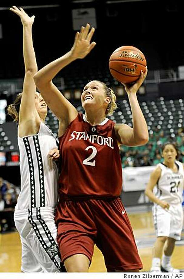 Stanford's Jayne Appel (2) drives to the basket against Hawaii's Sarah Ilic, left, during the first half of an NCAA women's game in Honolulu on Sunday, Nov. 30, 2008. Photo: Ronen Zilberman, AP