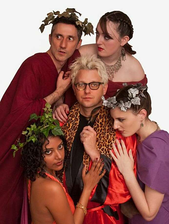 caption: SF playwrights channel Greek gods at the monthlong San Francisco Olympians Festival. top row, l-r: Nathan Tucker (author of DIONYSUS), Ashley Cowan (author of Athena) middle: Sean Kelly (author of ARES) bottom row, l-r: Nirmala Nataraj (authorof APHRODITE), M.R. Fall (author of Artemis) Photo: Dana Constance