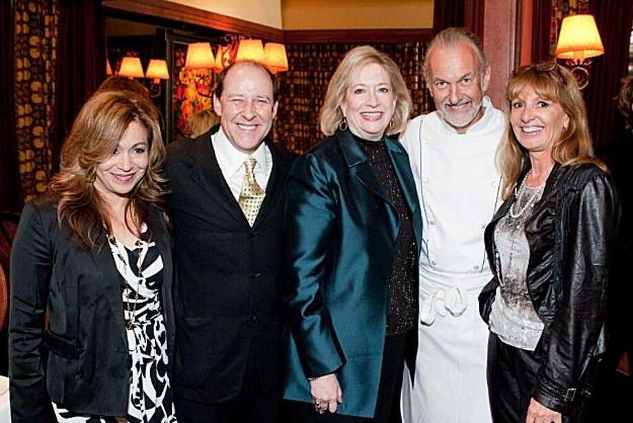 Left to right: ??, chef Bradley Ogden, Bon Appetit Editor Barbara Fairchild, Chef Hubert Keller and his wife, Chantal Keller at Fleur de Lys for a Curators of Taste Dinner. June 2010. Photo: Drew Altizer, Special To The Chronicle