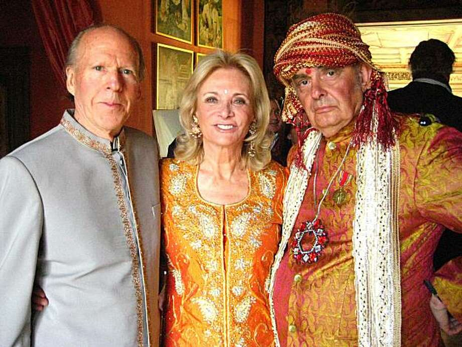 Austin Hills (left) with his wife, Sara Bennett and artist Ira Yeager at his wedding celebration in Napa. June 2010. Photo: Catherine Bigelow, Special To The Chronicle