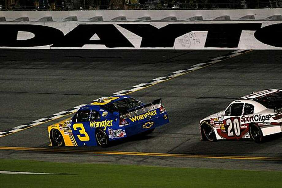 DAYTONA BEACH, FL - JULY 02:  Dale Earnhardt Jr., driver of the #3 Wrangler Chevrolet, crosses the finish line to win the NASCAR Nationwide Series Subway Jalapeno 250 at Daytona International Speedway on July 2, 2010 in Daytona Beach, Florida.  (Photo by Todd Warshaw/Getty Images for NASCAR) Photo: Todd Warshaw, Getty Images For NASCAR