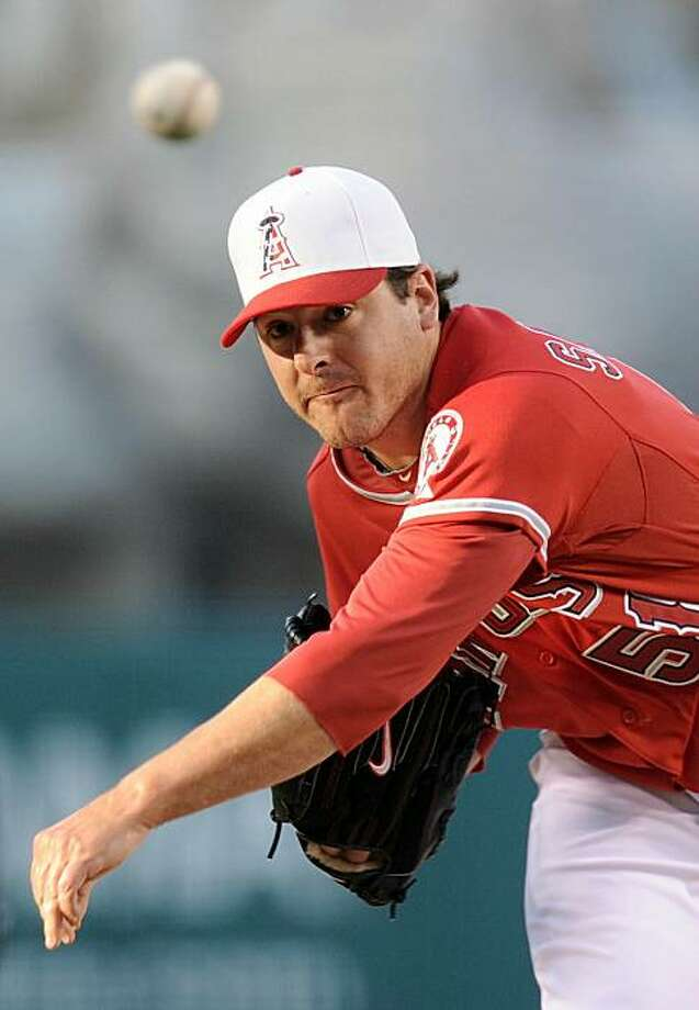 ANAHEIM, CA - JULY 02:  Joe Saunders #51 of the Los Angeles Angels pitches against the Kansas City Royals during the first inning at Angel Stadium on July 2, 2010 in Anaheim, California. Photo: Harry How, Getty Images