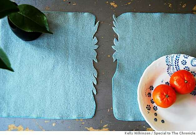 Placemat Images: Leave edge with design  unstitched, for sake of both time and overall aesthetic. Photo: Kelly Wilkinson, Special To The Chronicle