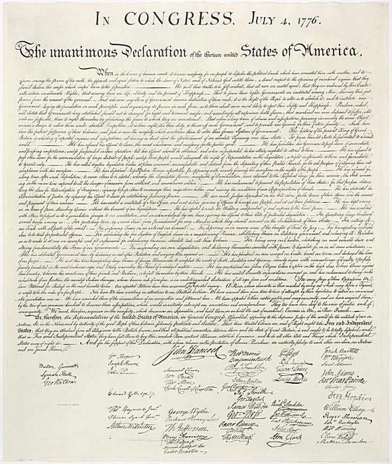 THE DECLARATION OF INDEPENDENCE image from the National Archives and Records Adminstration http://www.archives.gov/exhibits/charters/charters_downloads.html stone.tif Photo: Courtesy, Nat'l Archives And Records Admin