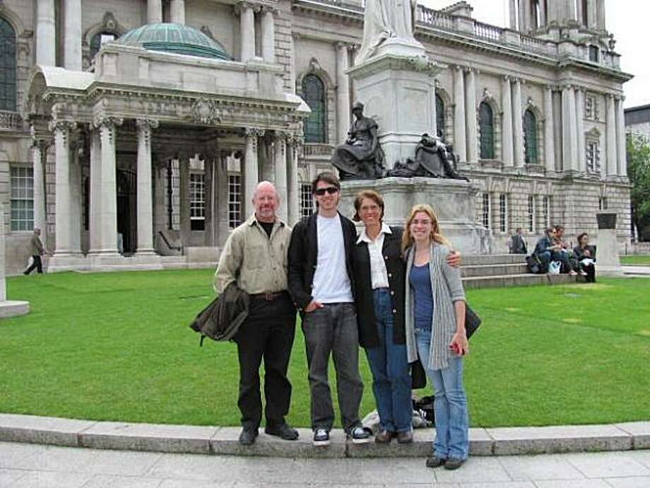 Morgan, Daniel, Carolyn and Ariel Zeitler in front of the Belfast City Hall. Photo: Courtesy Of Zeitler Family