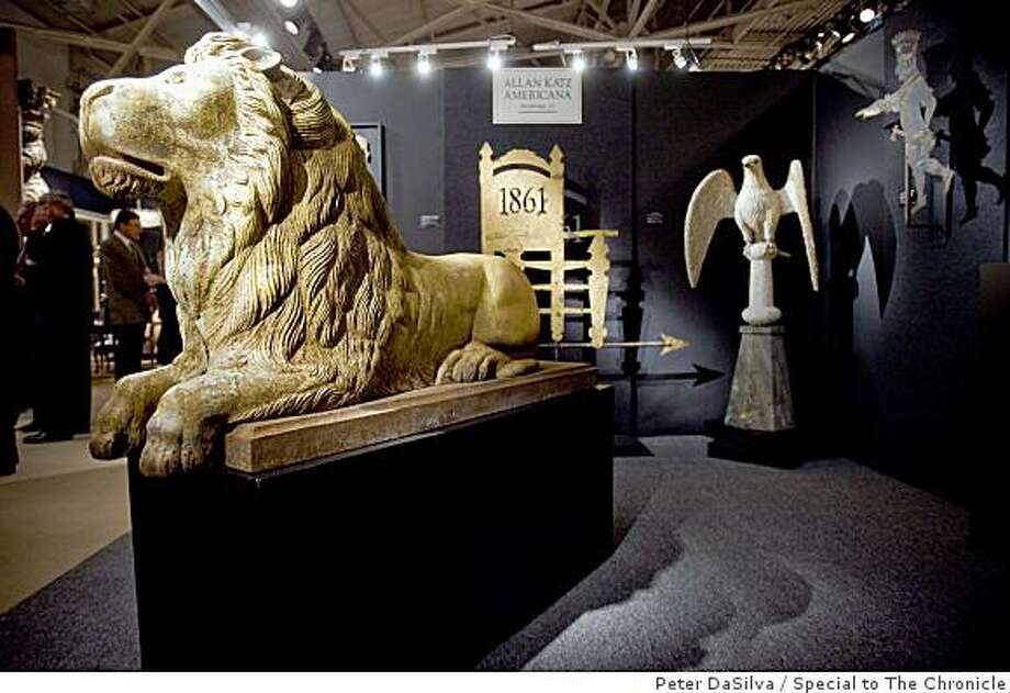 A $65,000.00 cira.1870 cast iron lion at the Allan Katz Americana/Woodbridge, CT vignette during the Fall Antique Show at Fort Mason in San Francisco, California, Oct. 22, 2008.Photo By: Peter DaSilva/Special to The Chronicle Photo: Peter DaSilva, Special To The Chronicle