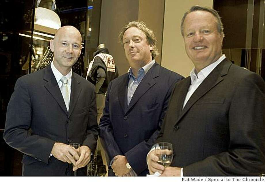 Executive director of the San Francisco FIlm Society, Graham Leggat , Left, Anthony Meier and Jerry Evans during a benefit for the San Francisco Film Society and the San Francisco International FIlm Festival at the new Gucci store in Union Square in San Francisco, Calif. on Thursday, November 6, 2008.Photo by Kat Wade / Special to the Chronicle Photo: Kat Wade, Special To The Chronicle