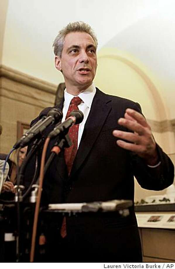 White House Chief of Staff-designate Rahm Emanuel makes a statement to reporters between meetings with Congressional leaders on Capitol Hill in Washington, Thursday, Nov.20, 2008. (AP Photo/Lauren Victoria Burke) Photo: Lauren Victoria Burke, AP