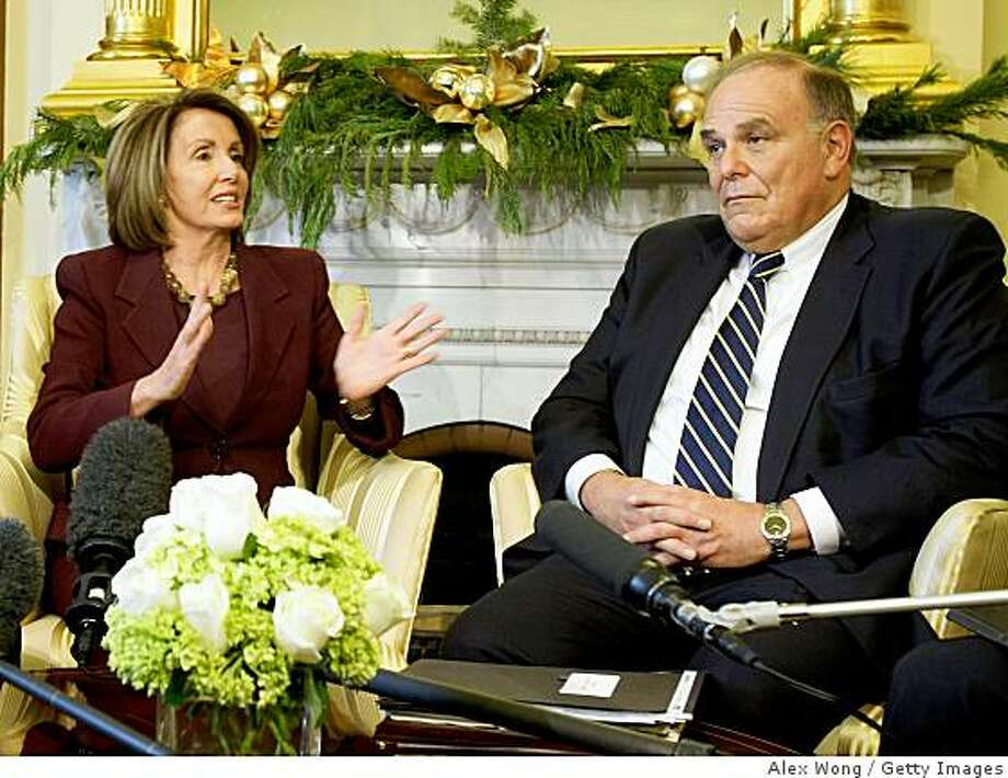 WASHINGTON - DECEMBER 01:  U.S. Speaker of the House Rep. Nancy Pelosi (D-CA) (L) speaks as National Governors Association (NGA) Chairman Ed Rendell (R) of Pennsylvania listens during a meeting on Capitol Hill December 1, 2008 in Washington, DC. Pelosi met with NGA leaders to discuss the need for an economic recovery package.  (Photo by Alex Wong/Getty Images) Photo: Alex Wong, Getty Images
