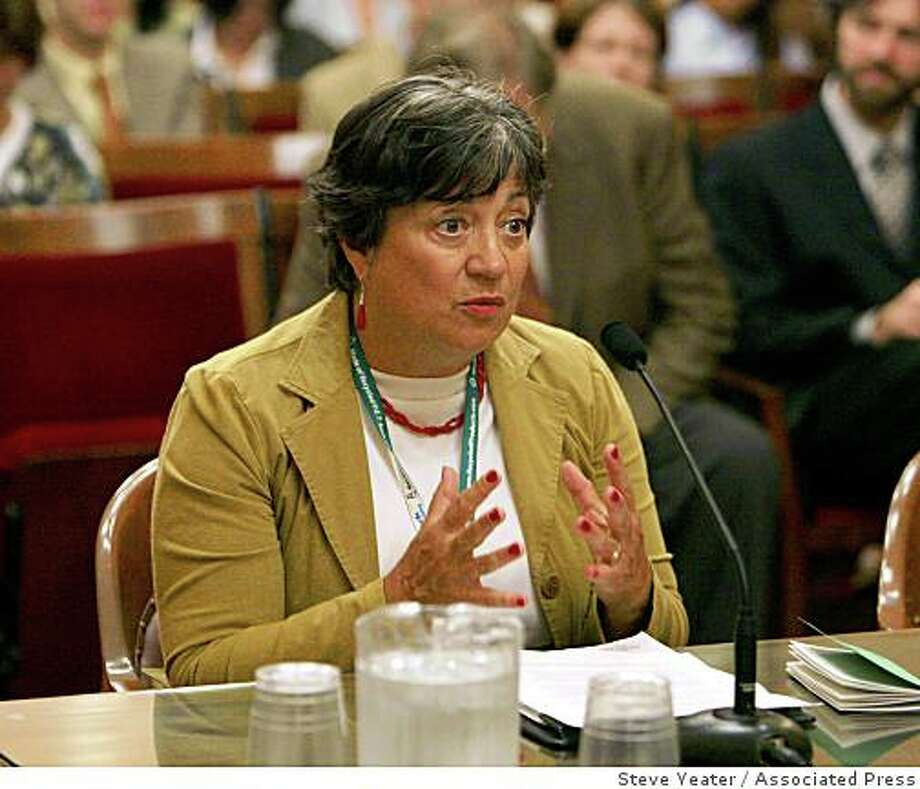 Mary Nichols, speaks before the Senate Rules Committee at the Capitol in Sacramento, Calif., Tuesday, July 17, 2007. The Senate Rules Committee was holding the hearing to consider Gov. Schwarzenegger's appointment of Nichols. Photo: Steve Yeater, Associated Press