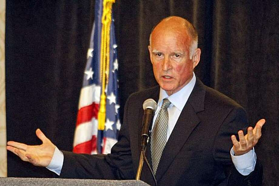 California State Attorney General Jerry Brown, speaks to the California District Attorneys Association in Monterey, Calif. on Tuesday, June 29, 2010. Photo: Vern Fisher, AP