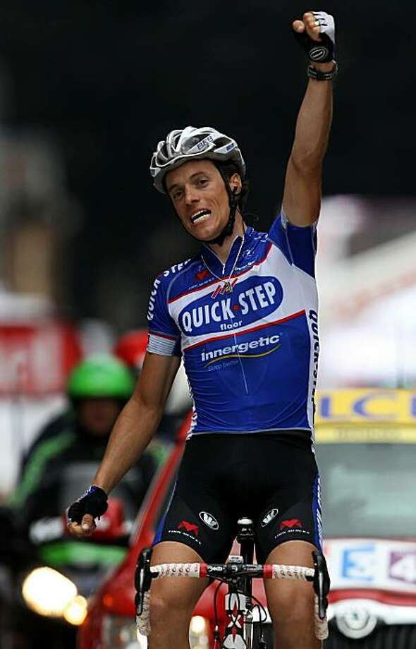 SPA, BELGIUM - JULY 05:  Sylvain Chavanel of France and Quick Step celebrates as he crosses the finish line to win stage two of the 2010 Tour de France from Brussels to Spa on July 5, 2010 in Spa, Belgium. Photo: Bryn Lennon, Getty Images