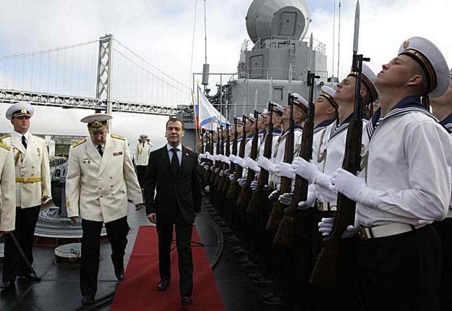 In this Wednesday, June 23, 2010, photo Russian President Dmitry Medvedev visits the Russian guided missile cruiser, Varyag, anchored in San Francisco.  Medvedev visited San Francisco as part of a U.S. tour that will take him to Washington for meetings with President Barack Obama. Photo: Dmitry Astakhov, AP