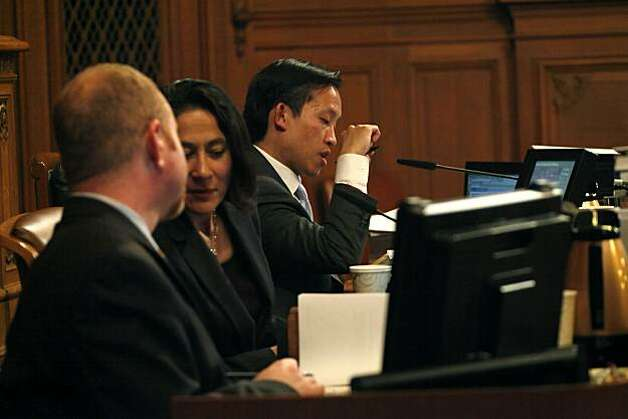 Supervisor and President of the Board David Chiu (right) speaks during a San Francisco Board of Supervisors meeting at City Hall in San Francisco, Calif. on Tuesday May 4, 2010. Photo: Lea Suzuki, The Chronicle