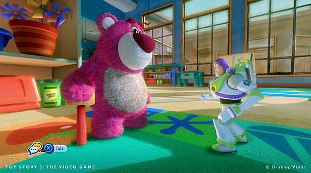 Buzz Lightyear encounters Lotso Bear in the story mode of Toy Story 3: The Video Game Photo: Disney Interactive Studios