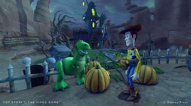 Rex and Woody work out what to do about Sid's haunted mansion in the Toy Box mode of Toy Story 3: The Video Game Photo: Disney Interactive Studios