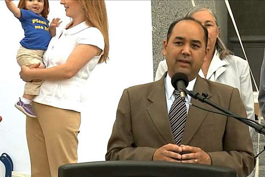 In 2009, Sen. Alberto Torrico spoke at a news conference in favor of legislation banning BPA from products aimed at young children. In 2010, he ducked the vote on the Senate floor. Photo: Calif. Senate Majority Caucus