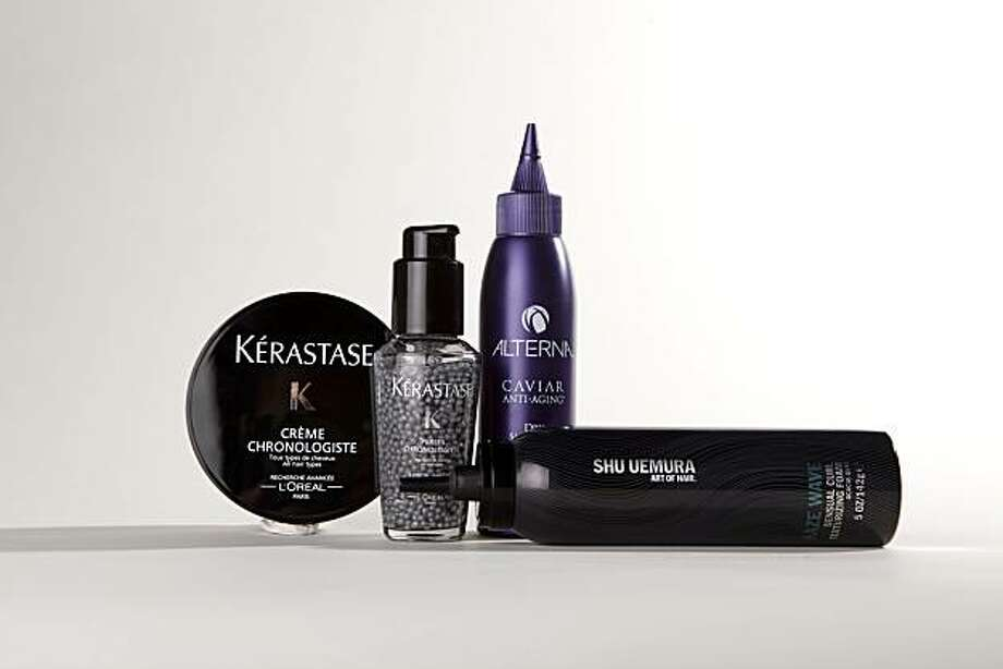 Hair products by Alterna, Shu Uemura and Kerastase. Photo: Russell Yip, The Chronicle