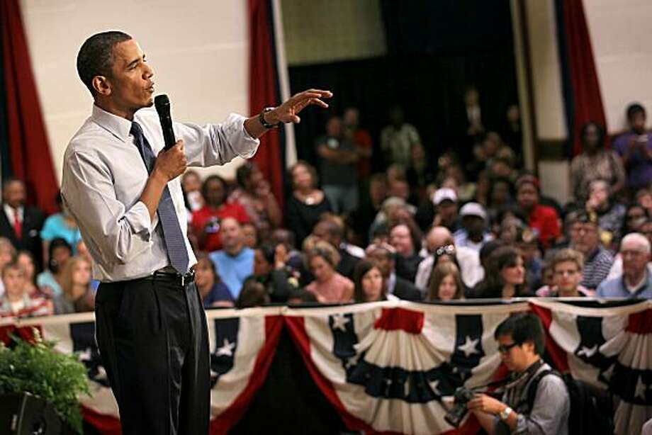 RACINE, WI - JUNE 30:  U.S. President Barack Obama speaks to guests gathered for a town hall style meeting on June 30, 2010 in Racine, Wisconsin. The President used the event to speak to the 1,300 attendees about the economy. Photo: Scott Olson, Getty Images
